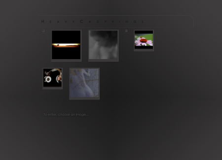 The initial welcome page is a randomized selection of images drawn from the artist's collection, with two image sizes presented for aesthetic effect.