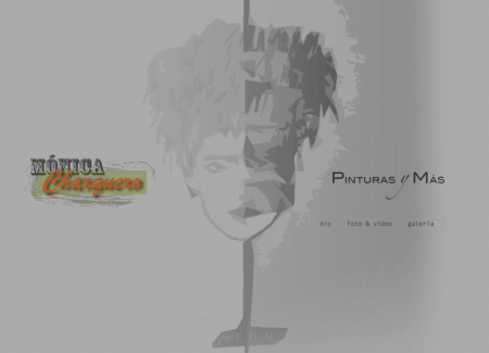Monica's website opens with a menu overlaying a background image adapted from her own collection.